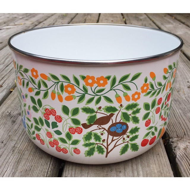 Colorfully Decorated Enamelware Bowl - Image 4 of 7