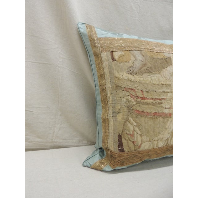 Antique Aubusson Tapestry square decorative pillow. Tapestry fragment front framed with gold metallic antique trims. Front...