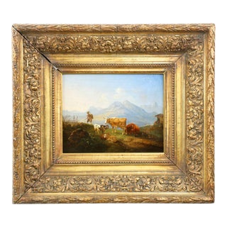 German School Mountainscape Sheep and Cattle Oil Painting, 19th Century For Sale