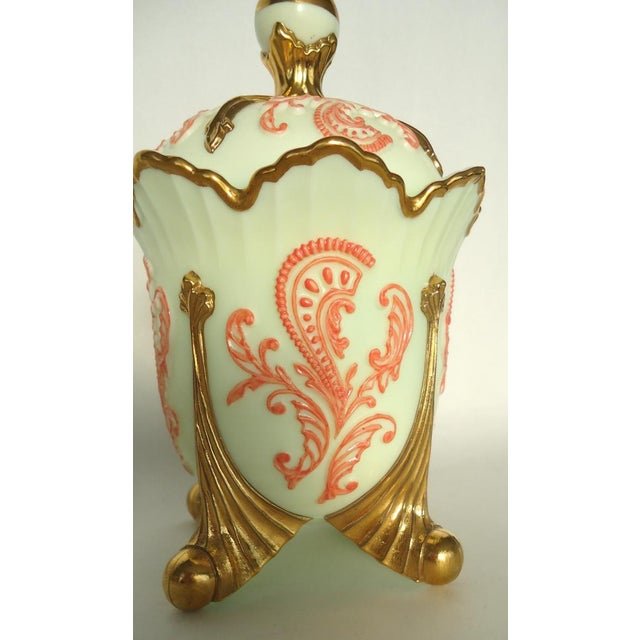 Gold & Coral Custard Glass Lidded Dish - Image 4 of 8
