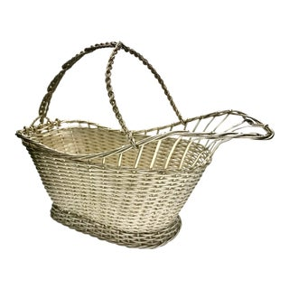 Mid-Century French Silver Wire Wine Basket For Sale