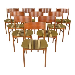 Danish Modern Dining Chairs in Teak and Beech - Set of 10 For Sale