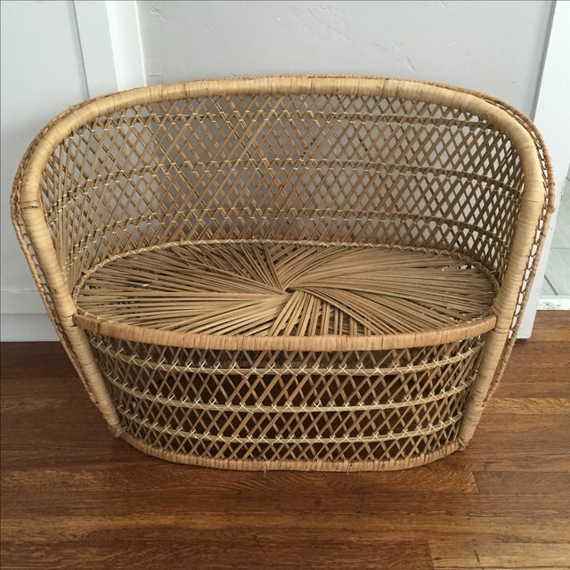 Vintage Child's Wicker Bench - Image 2 of 6