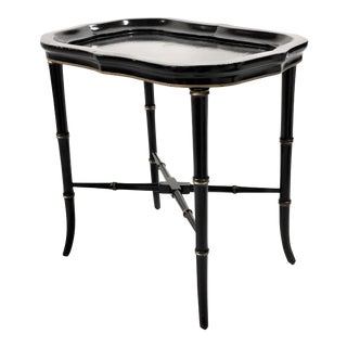 Vintage Chinoiserie Asian Style Small Table in Black Lacquer & Gold For Sale