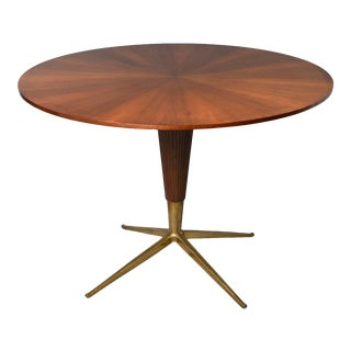 1960s Round Mid Century Italian Table With Brass Feet For Sale