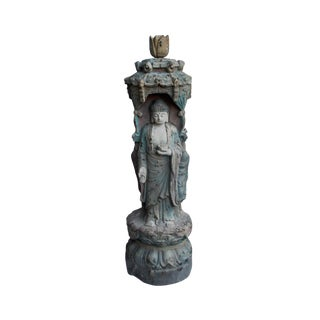 Chinese Rustic Finish Wood Buddha Kwan Yin 3 Sides Statue For Sale