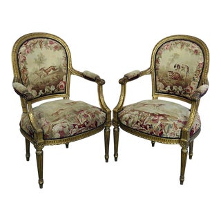 Early 20th Century Vintage French Louis XVI Style Needlepoint Fauteuils- A Pair For Sale