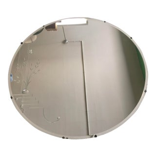 Frameless Art Deco Round Mirror For Sale