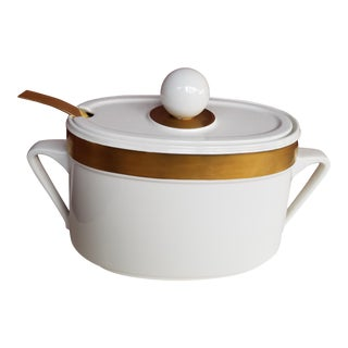 Mid-Century Ernest Sohn White & Gold Soup Tureen With Ladle