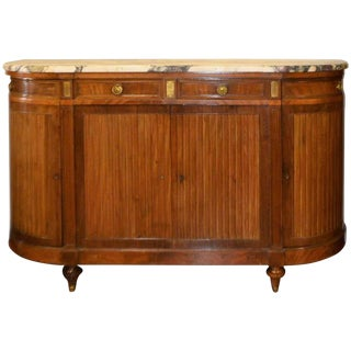 French Mahogany Buffet or Cabinet, Rounded Corners and Thick Marble, Circa 1900 For Sale