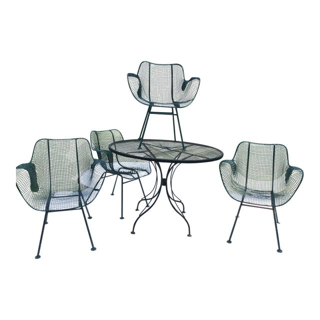 Metal Sculptura Wrought Iron Patio Set - 5 Pieces For Sale - Image 7 of 7