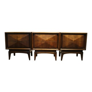 Vladimir Kagan Style Diamond Front Walnut Nightstands - Set of 3