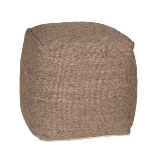 Modern Neutral Wool Pouf For Sale
