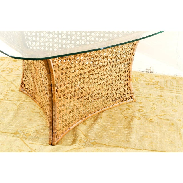 Fantastic Vintage Rattan Triangle Base Dining or Game Table by Danny Ho Fong For Sale In Atlanta - Image 6 of 9