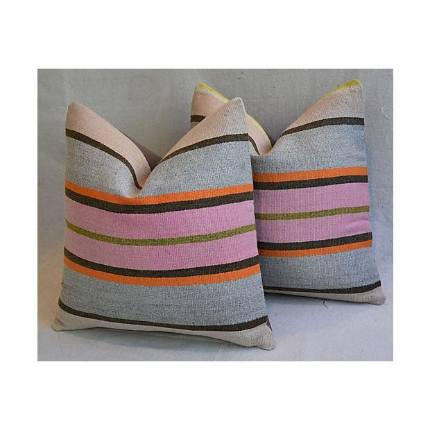 "20"" Custom Tailored Anatolian Turkish Kilim Wool Feather/Down Pillows - a Pair - Image 6 of 11"