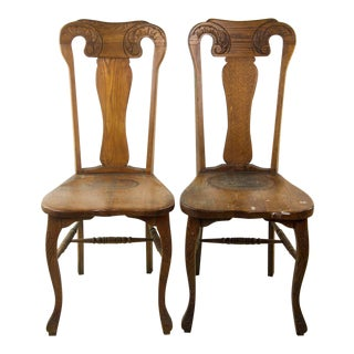 Queen Anne Hand Carved Oak Chairs - A Pair