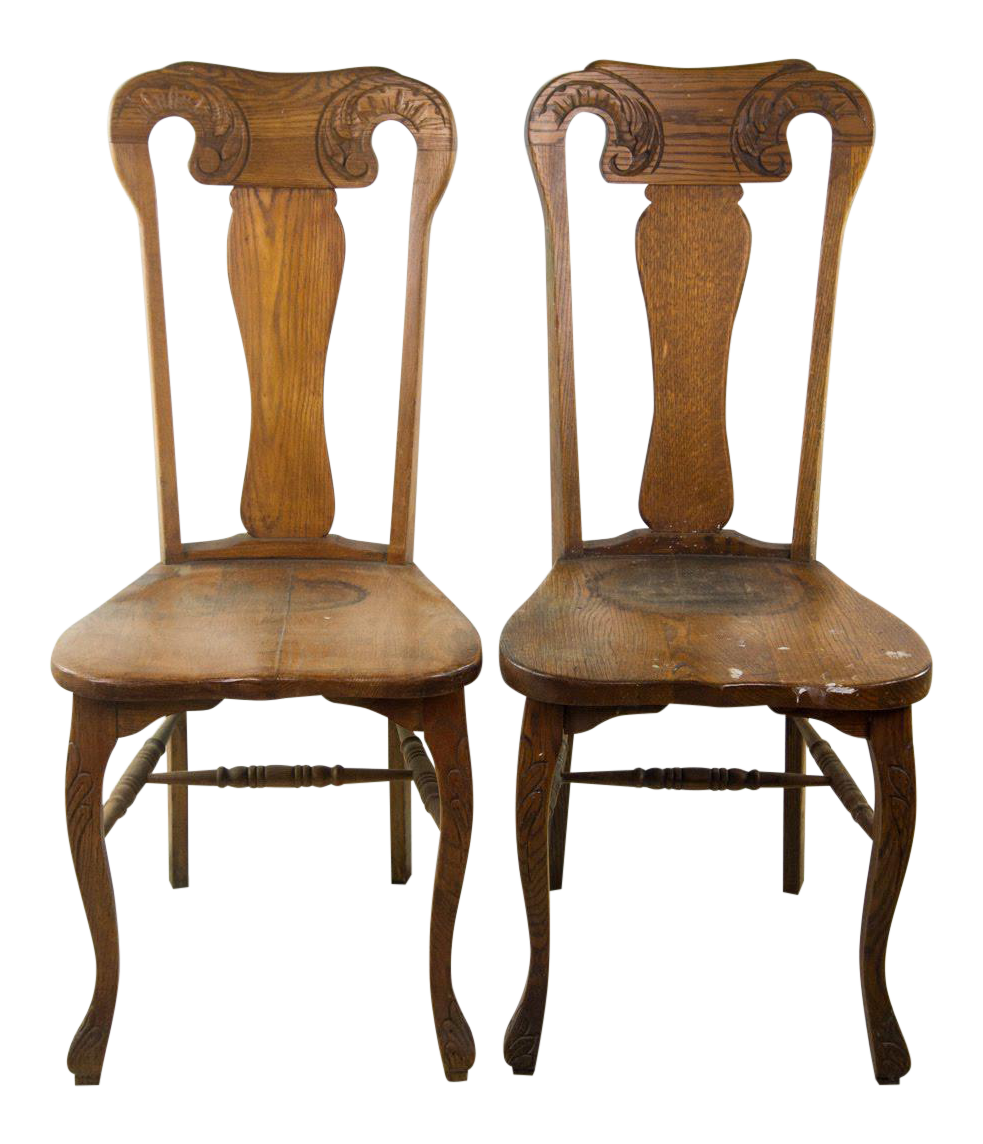 Queen Anne Hand Carved Oak Chairs   A Pair   Image 1 Of 11