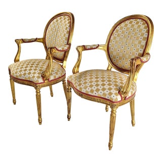 1950s Louis XVI French Provincial Gilded Chairs - a Pair For Sale