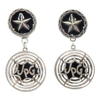 Early Jean Paul Gaultier Enamel Logo Earrings For Sale