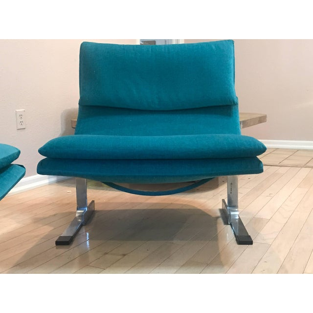 Restored entirely with new cushions and entire new fabric upholstery. Most delicious and comfortable chairs for a sitting...