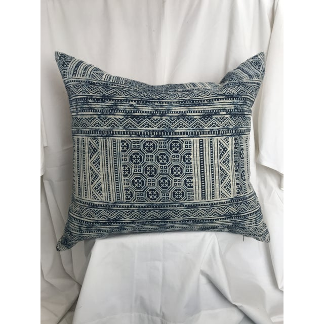 Indigo Hill Tribe Batik Blue & White Cotton Pillow For Sale - Image 9 of 9