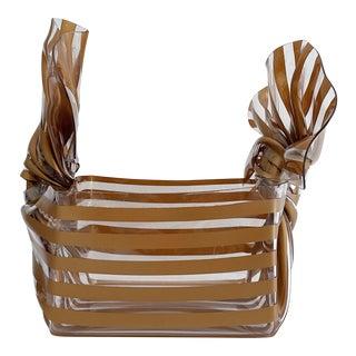 Vintage c.t. Designs Stripes Acrylic Ribbon Basket For Sale