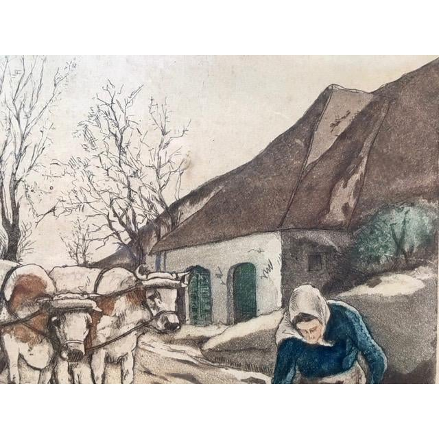 """Early 20th Century Antique W. Landsman """"Country Life"""" Hand-Colored Lithograph Print For Sale - Image 4 of 8"""