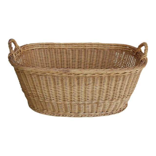 Vintage French Oval Wicker Market Basket - Image 1 of 10