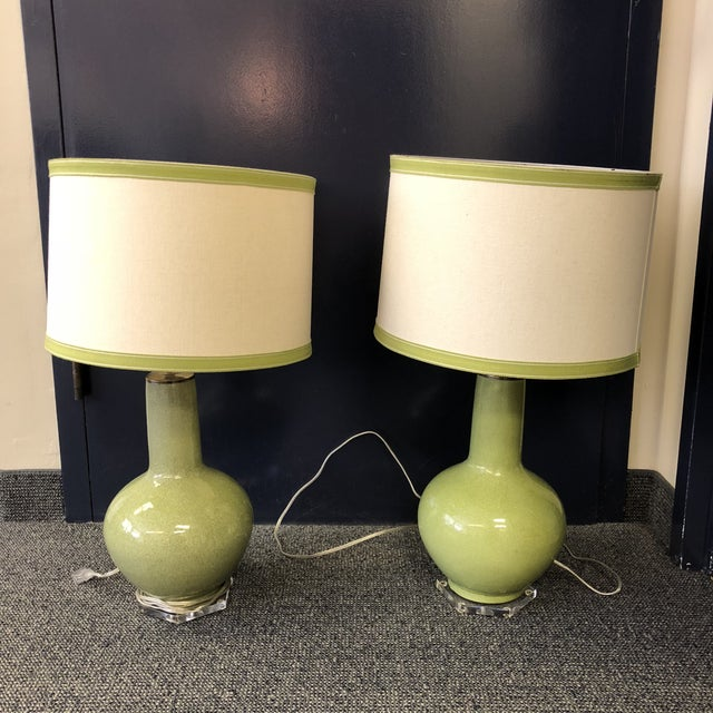 Custom Green Lamps with Shades - A Pair - Image 6 of 6