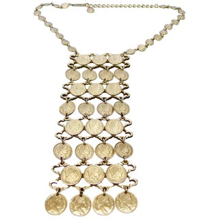 Massive Articulated Gilt Metal Coin Bib Necklace Circa 1970s For Sale