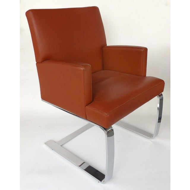 1990s De Sede of Switzerland Cantilevered Leather and Stainless Steel Chairs, '4' For Sale - Image 5 of 13