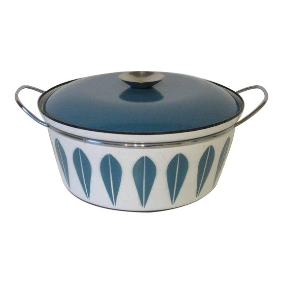 Cathrineholm Large Enamel Serving Bowl with Lid and Handles For Sale