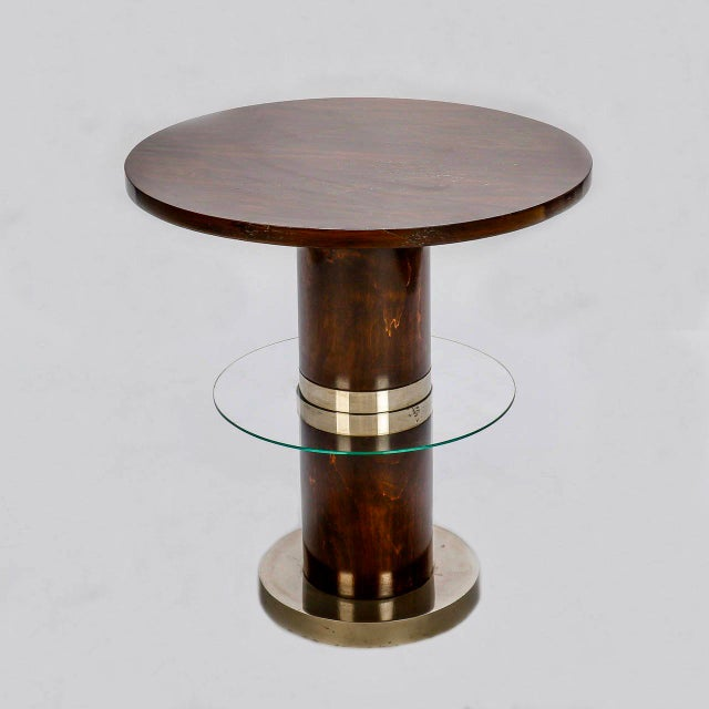 French Art Deco Macassar and Glass Table with Chrome Base - Image 4 of 7