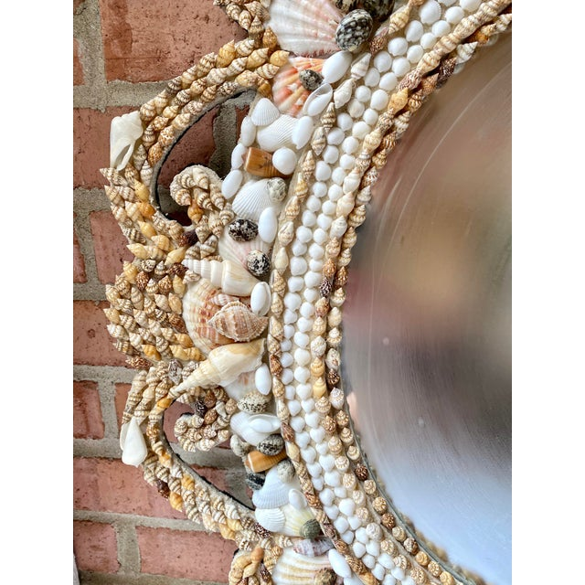 Hollywood Regency Style Shell Encrusted Mirror For Sale - Image 4 of 13