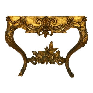 French Louis XV Style Carved Giltwood Wall Mounted Bird Console Table For Sale