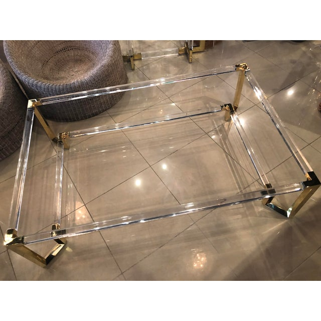 Two Tiered Brass And Glass Coffee Table: Vintage Hollywood Regency Geometric Brass And Lucite Two