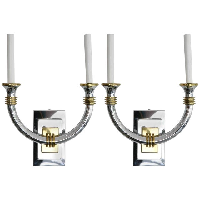 Art Deco Chrome and Brass Wall Sconces - a Pair For Sale
