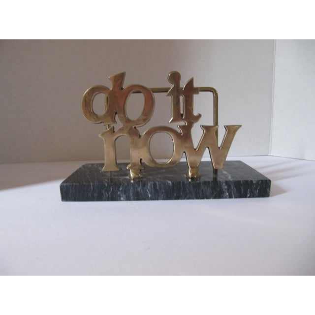"""Vintage """"Do it Now"""" brass and marble letter holder. This whimsical piece would be great on your desk or even in your..."""