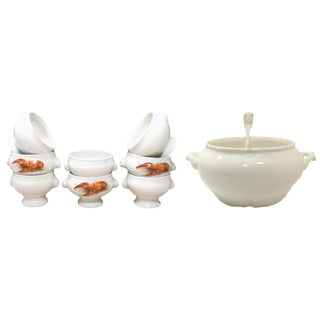 Vintage French Soup Tureen, Lobster Bisque Bowls & Ladle, 10 Pieces For Sale