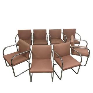 Late 20th Century Mies Van De Rohe by Thonet Style Tube Chairs- Set of 8 For Sale