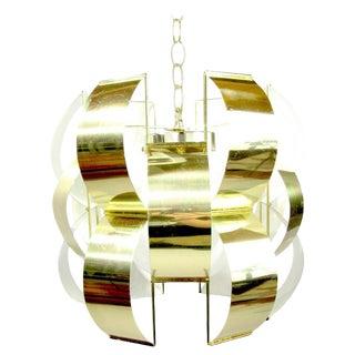 1960s Lightolier Polished Brass Pendant Light For Sale