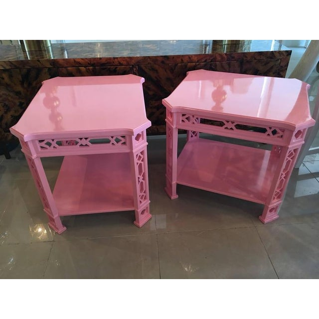 Chinoiserie Pink Lacquered Fretwork Side Tables - A Pair - Image 6 of 11