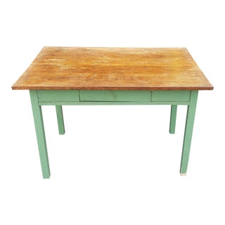 1920s Painted Green Kitchen Table Base W/ Older Added Oak Board Top For Sale