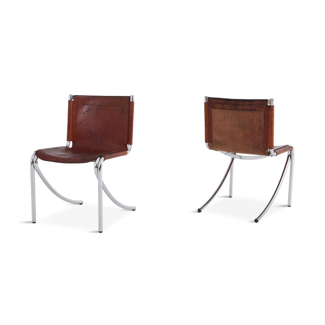 Giotto Stoppino Giotto Stoppino Patinated Red Leather and Chrome Vintage Dining Chairs Model Jot for Acerbis For Sale - Image 4 of 11