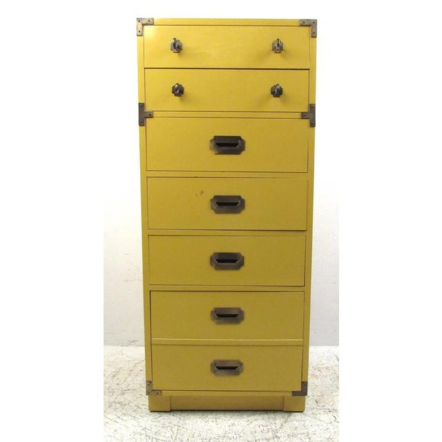 Vintage Modern Campaign Style Chest of Drawers For Sale In New York - Image 6 of 6