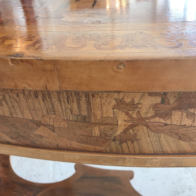 Bronze Antique French Marquetry Inlaid Wooden Kidney Desk For Sale - Image 7 of 13