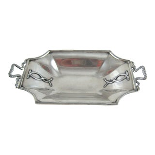 Sterling Silver Snake Dish Tray Lion Paw Feet For Sale