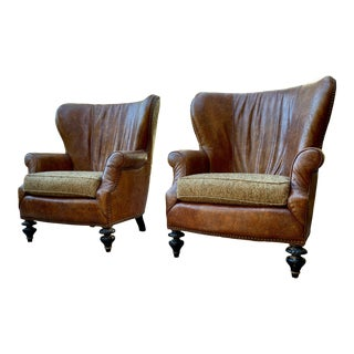Brown Leather Chesterfield, Chippendale Style Modern Wingback Armchair For Sale