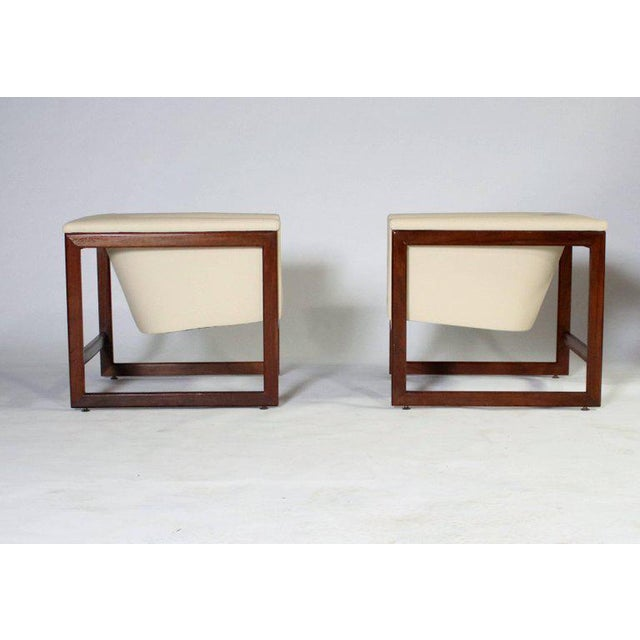 Pair of Milo Baughman cube-shape club chairs completely restored. Made from refinished walnut wood frames and...