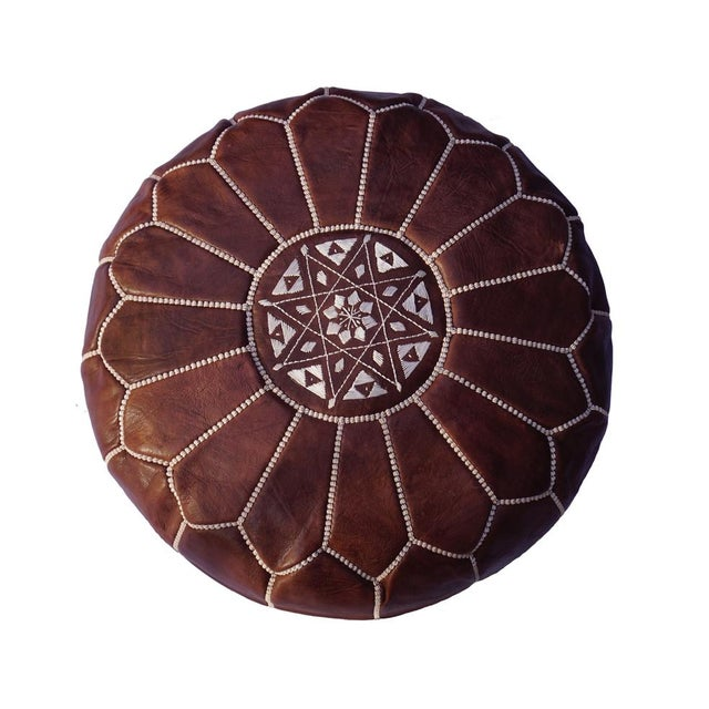 Brown Leather Moroccan Pouf/Ottoman - Image 1 of 4